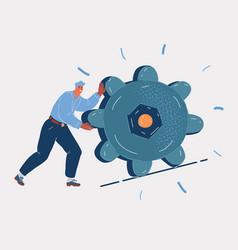 Man lifting a machine wheel vector