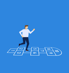 man playing hopscotch jumping vector image