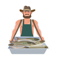 man with vendor trays vector image