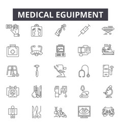 medical eguipment line icons signs set vector image