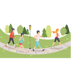 men and women running in park people doing vector image