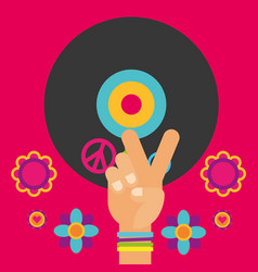 musical guitar vinyl disc hand flowers free spirit vector image