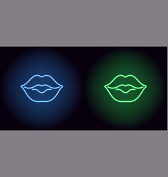 neon lips in blue and green color vector image