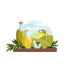 organic olive oil product in bottle vector image