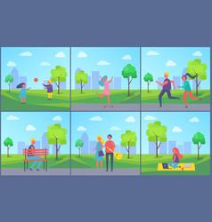 outdoors summer activities boy girl couple walking vector image