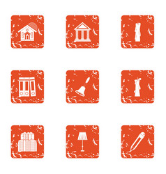 Plan of building icons set grunge style vector
