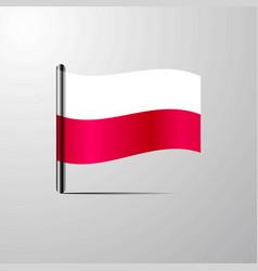 Poland waving shiny flag design vector
