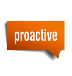 Proactive orange 3d speech bubble vector