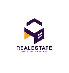 real estate building house and interior 3d style vector image