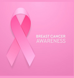 realistic pink ribbon closeup on pink background vector image