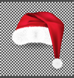 realistic red traditional santa claus hat vector image