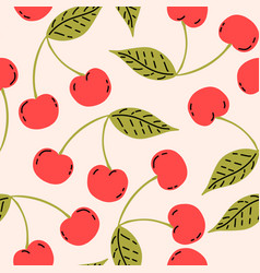 red cherries with leaf berry fruits seamless vector image