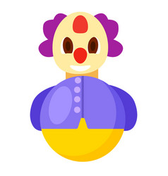 roly poly clown in purple jacket vector image