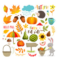 Set cute autumn cartoon elements fall season vector