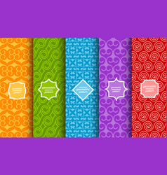 set different bright seamless patterns vector image