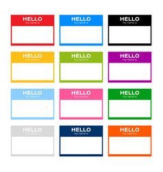 Set hello my name is label sticker on white vector