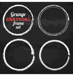 Set of four grunge circle chalk frames vector