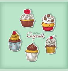 set of hand drawn cupcake vector image