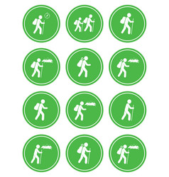 set of hiking icon isolated vector image