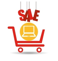 Shopping cart sale laptop icon vector
