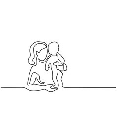 Simple line art of a mother holding her baby vector