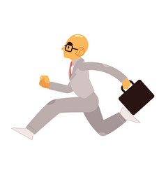 smiling businessman in suit with briefcase running vector image