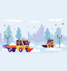 Snow plows machine clean city streets from winter vector