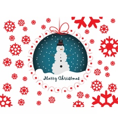 Snowmen merry christmas card vector