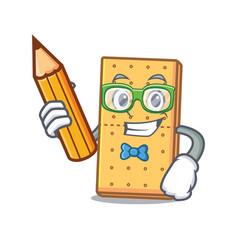 Student graham cookies character cartoon vector