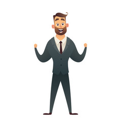 Successful charming businessman character rejoice vector