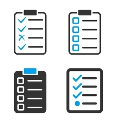 Task List Pad Flat Bicolor Icons vector