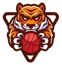 tiger basketball mascot vector image