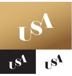 u s a golden monogram usa logo typography vector image