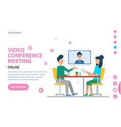 Video conference people talking on web camera vector