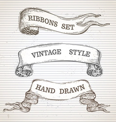 Vintage hand-drawn ribbon banners set vector