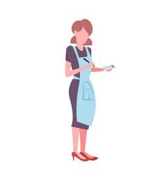 Waitress wearing apron woman making notes vector