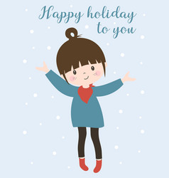 winter holiday card with cute girl vector image