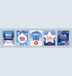 winter sale flyers promo cards season discount vector image
