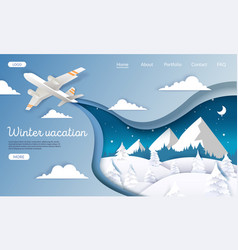 winter vacations website landing page vector image
