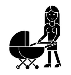 woman with baby stroller icon vector image