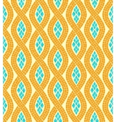 yellow and blue wave mosaic seamless pattern vector image