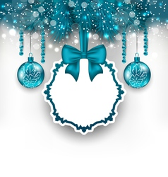 Christmas gift card with glass balls vector image