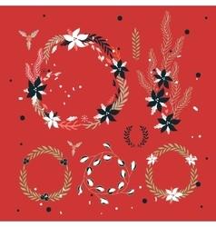 Christmas New Year Holiday wreath Hand drawn vector image