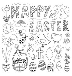 hand drawn easter doodles set vector image