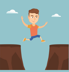sportsman jumping over the cliff vector image vector image