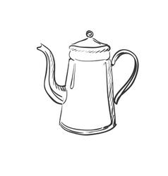 doodle coffee pot vector image vector image