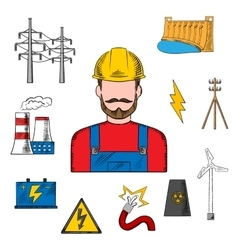 Electricity industry sketch with power icons vector image vector image