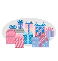Gift boxes heap vector image