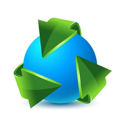 green recycling arrows and blue earth vector image