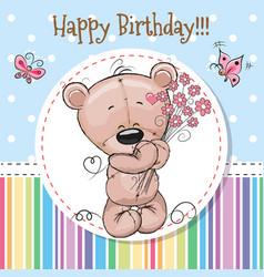 Greeting card cute teddy bear vector